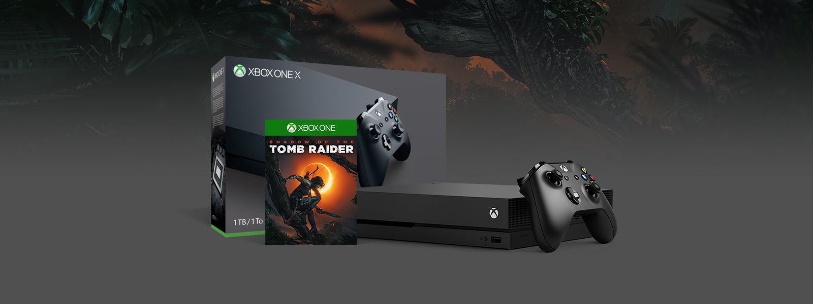 Box and console shot of Xbox One X Shadow of the Tomb Raider Bundle (1TB), background of in-game forest