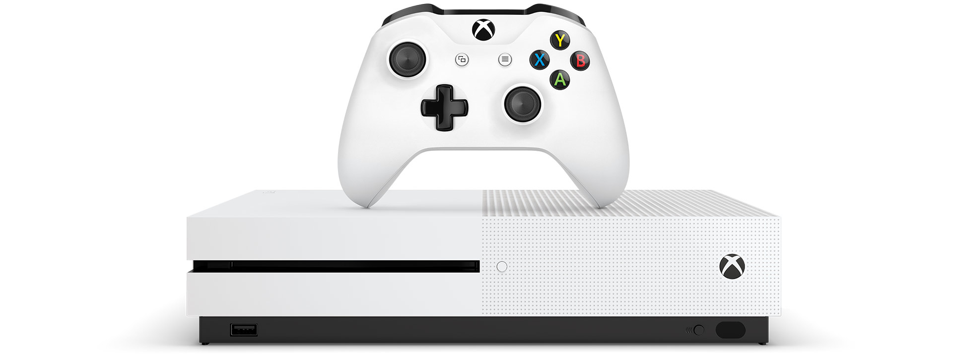 Xbox One S console with an Xbox wireless controller