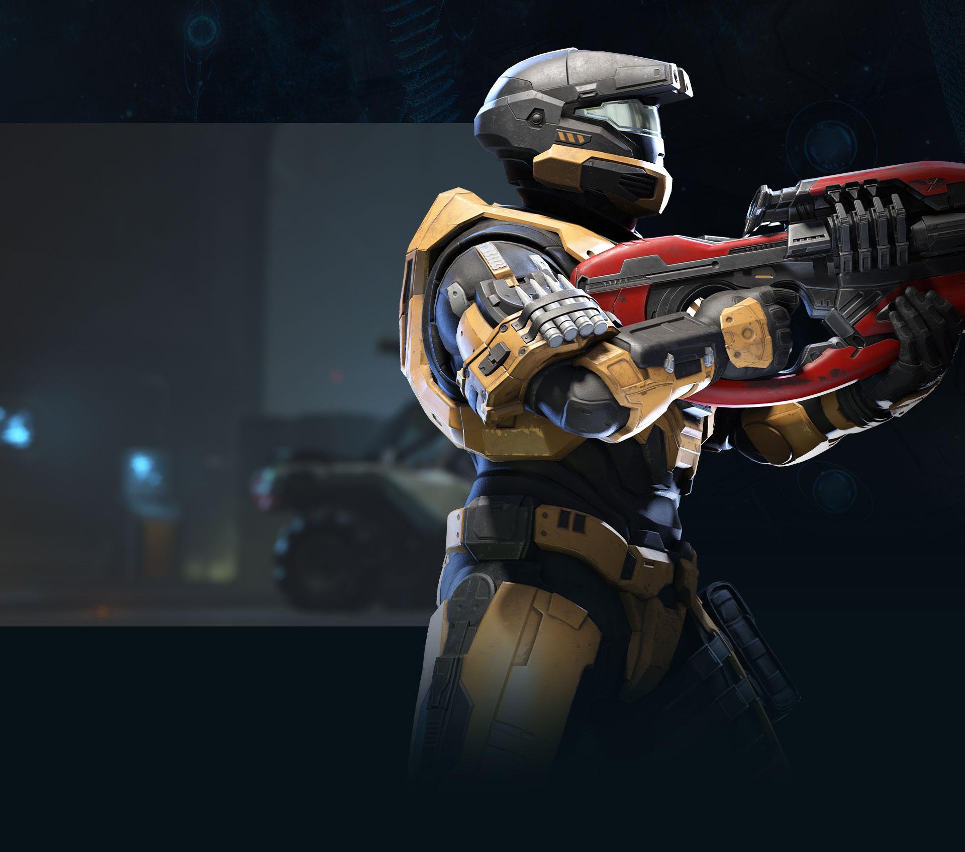 Uno Spartan con una grande arma guarda di lato