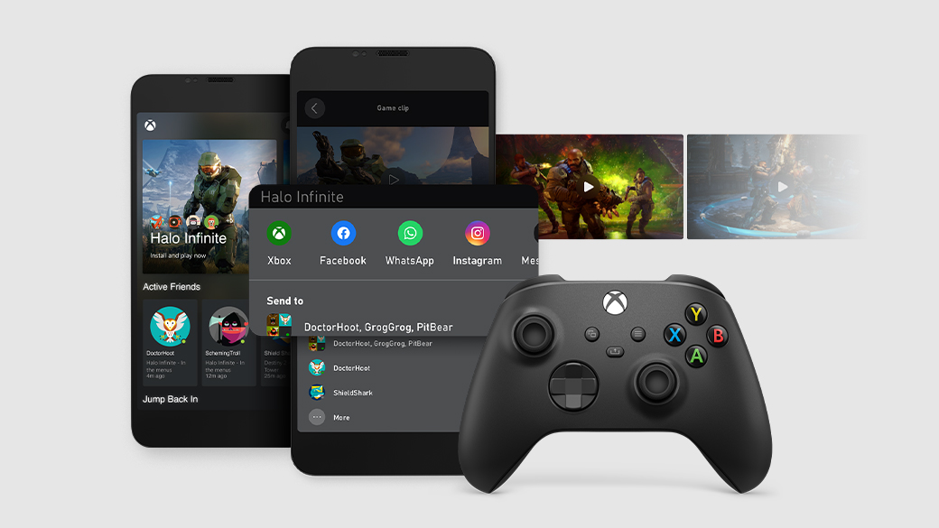 Two phone screens displaying features of the Xbox app, with video thumbnails and an Xbox controller.