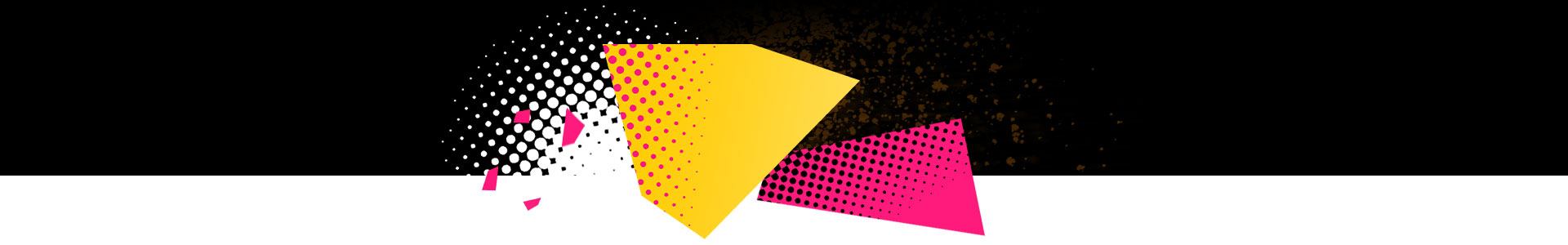 Shapes and dots in black yellow and pink