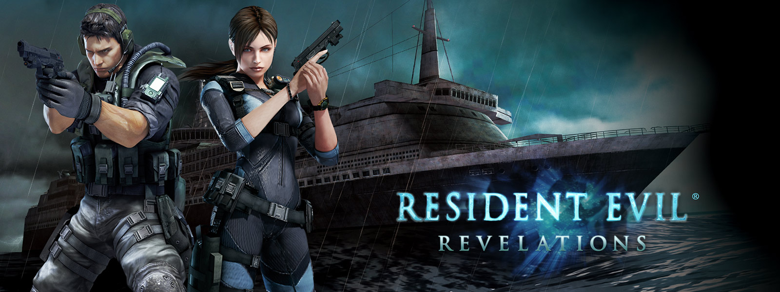 Resident Evil Revelations, two characters holding pistols in front of a ghostly looking cruise ship