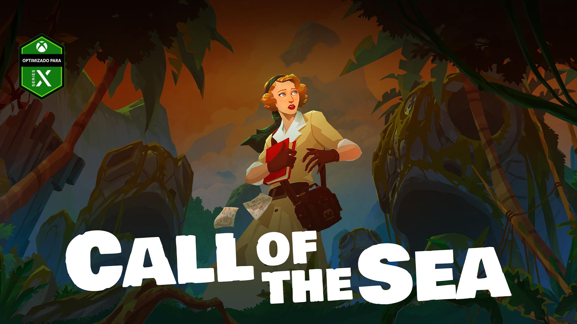 Logotipo de Optimizado para Series X, Call of the Sea, Norah en una jungla