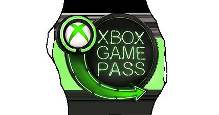 Xbox Game Pass-logotypen med en bild på en bil som kör förbi en explosion