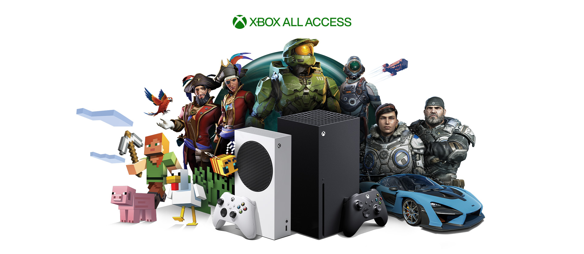 Xbox All Access, Xbox Series X and Xbox Series S with Xbox game characters