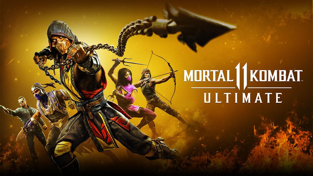 Mortal Kombat 11 Ultimate, Scorpion lance sa chaîne à lame, des personnages en arrière-plan sont debout avec des armes prêt au combat.