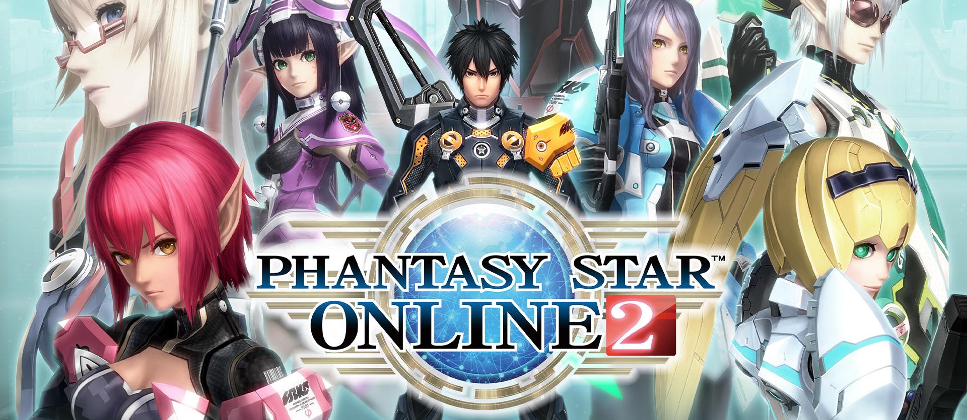 Phantasy Star Online 2, un collage de personnages du jeu.