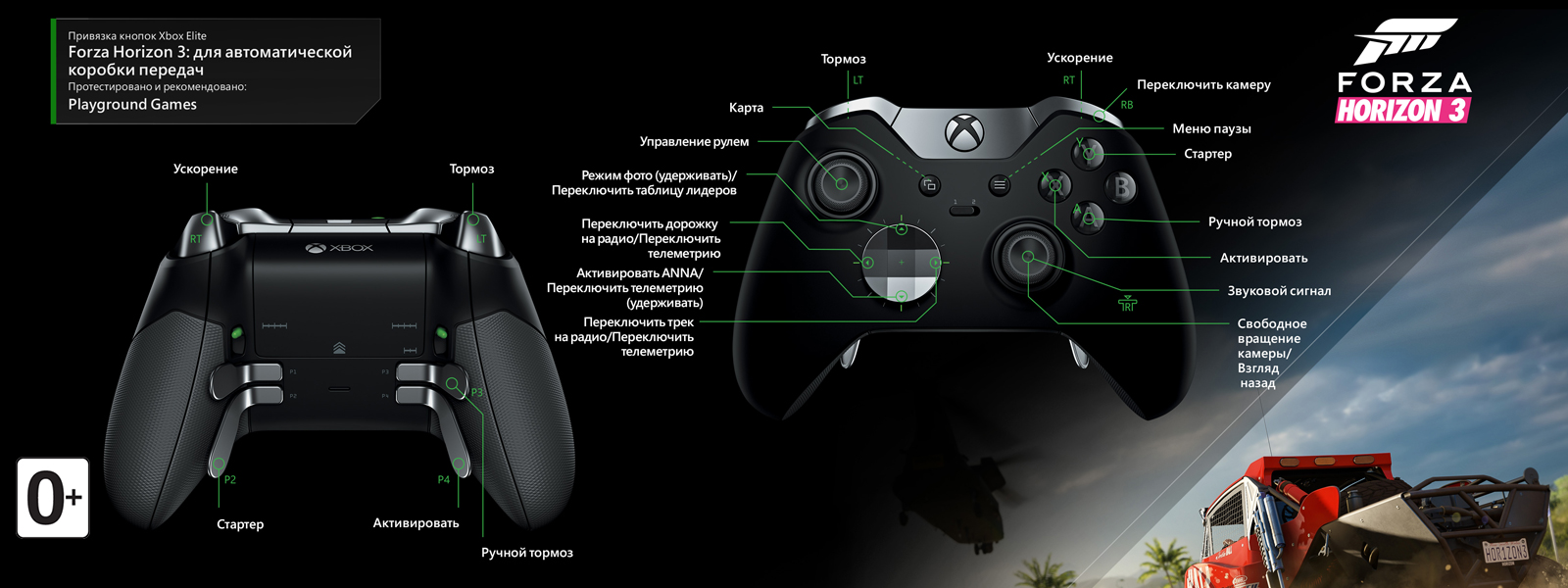 Forza Horizon 3 — раскладка для автоматической коробки передач под геймпад Elite