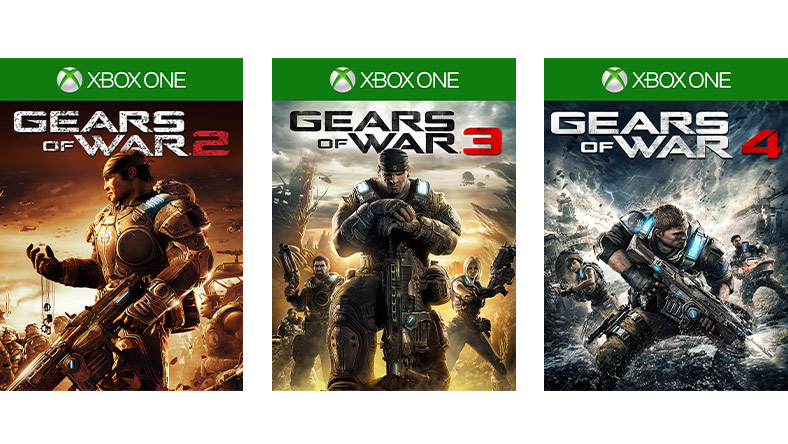 Gears of War 2, 3 and 4 game box shot