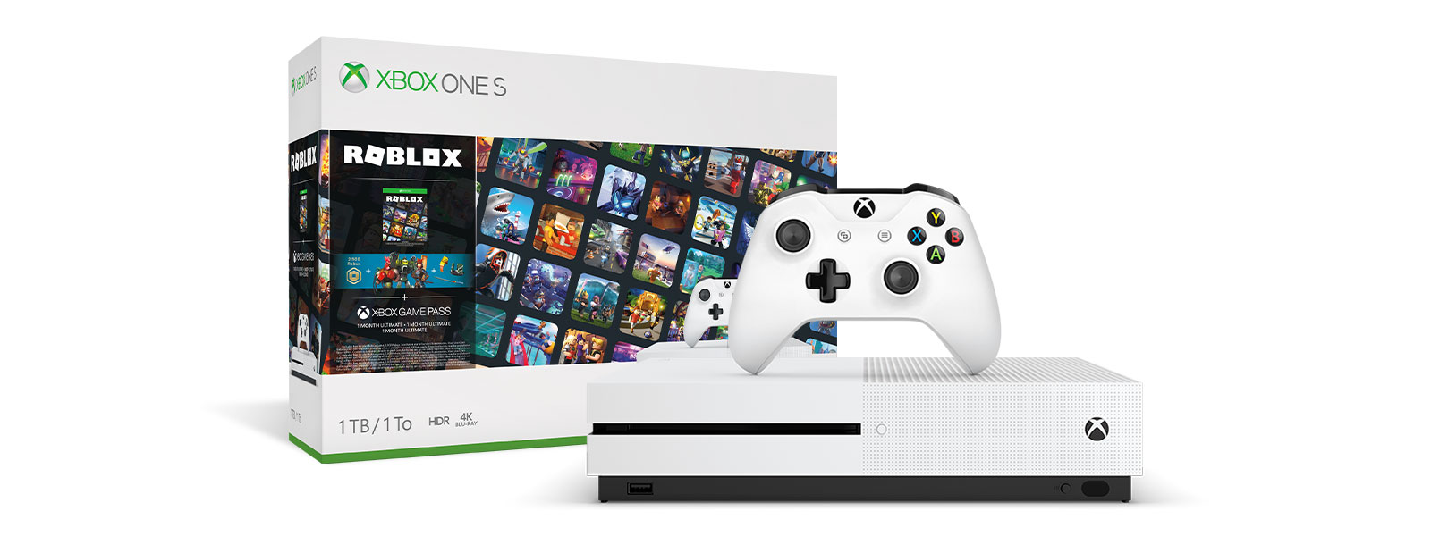 Xbox One S Roblox Bundle product box and Xbox One S