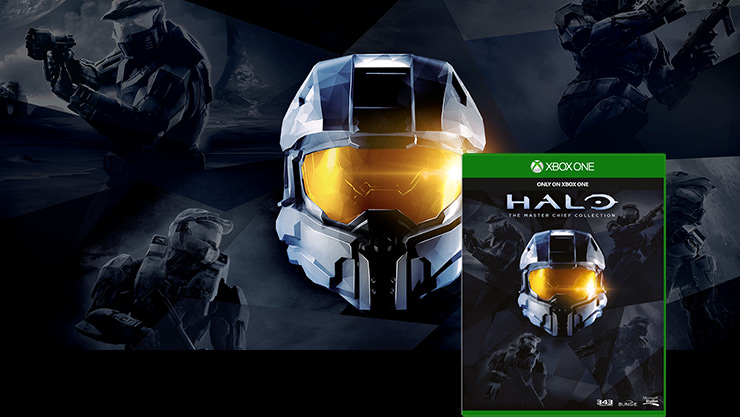 Casco del Jefe Maestro con la ilustración de la caja de Halo Master Chief Collection