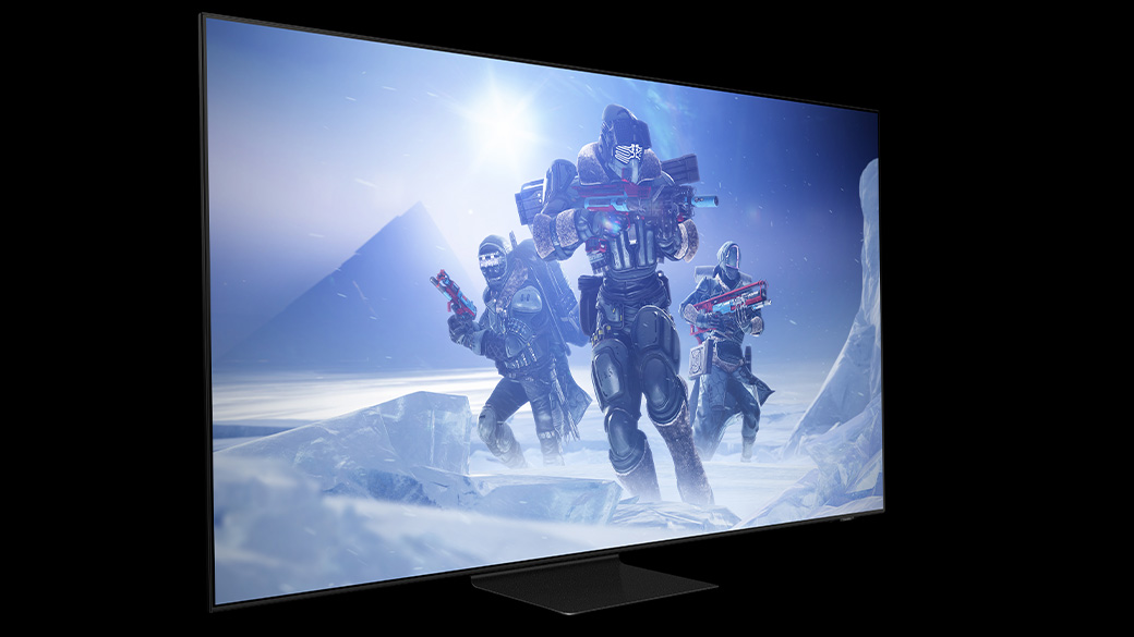 A Samsung TV that has the game Destiny 2 featured on-screen.