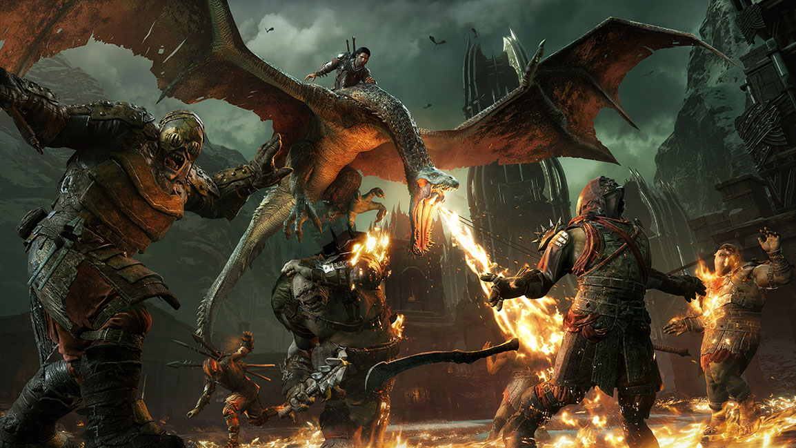 Talion riding a dragon blowing fire unto enemies