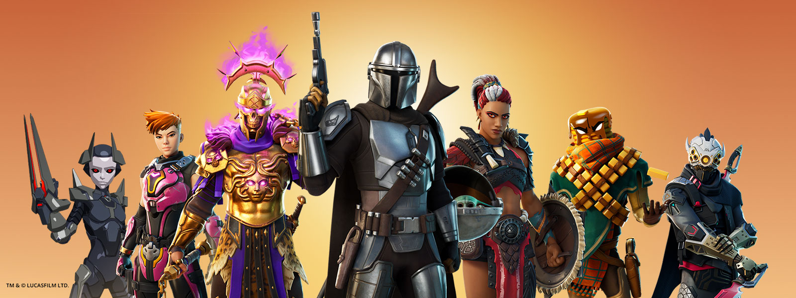 A line of characters led by The Mandalorian stand ready for battle.