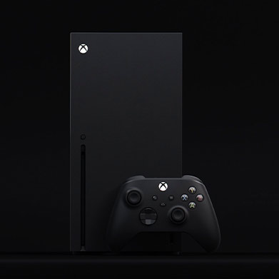 An Xbox Series X console with a controller