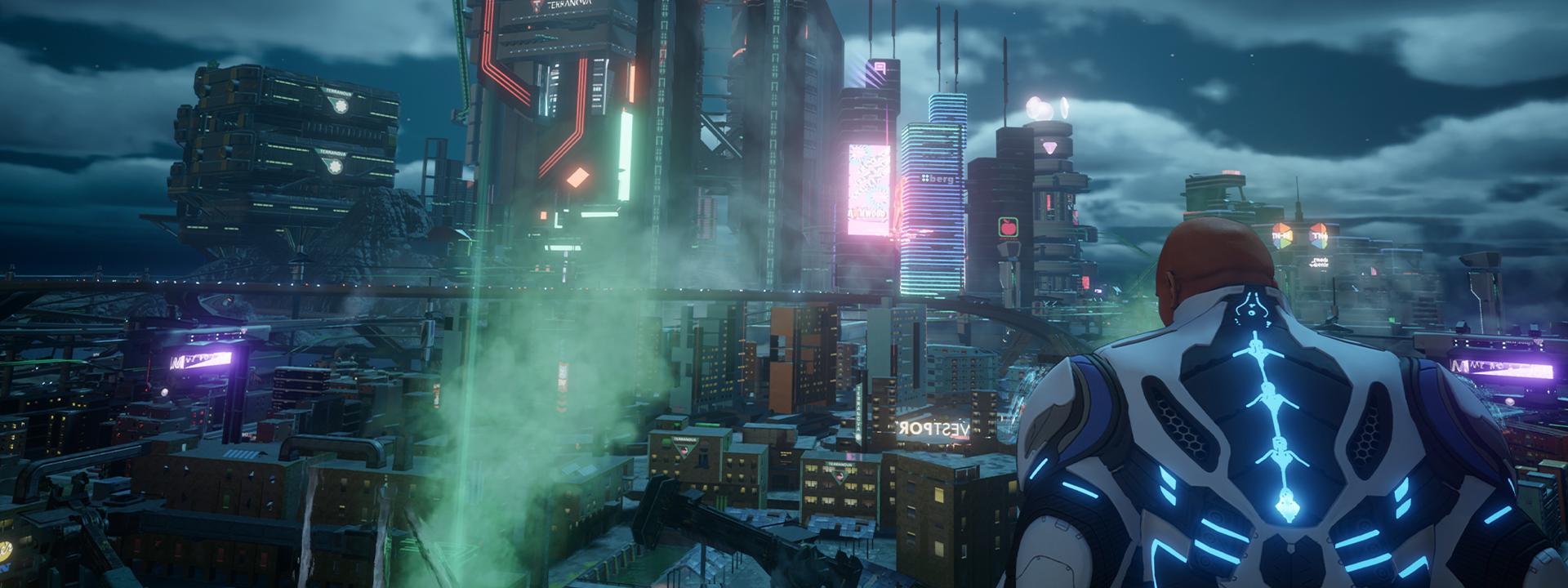 Agent spoglądający z góry na miasto