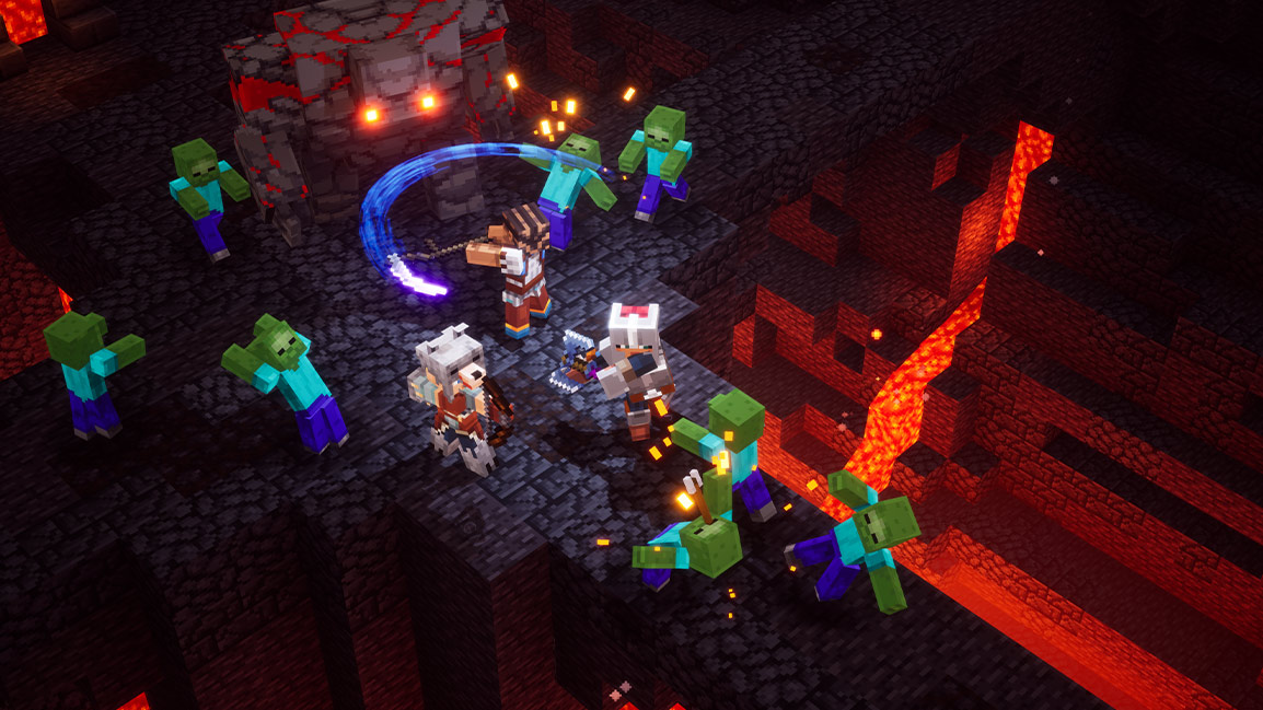 3 Minecraft characters attack a golem and creepers in cave filled with lava