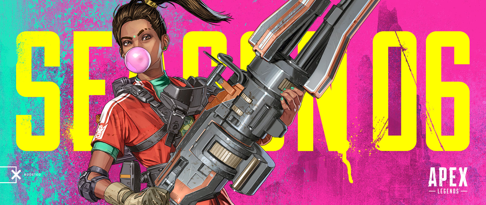 Apex Legends Season 6, New legend Rampart holds a huge gun and blows a gum bubble.