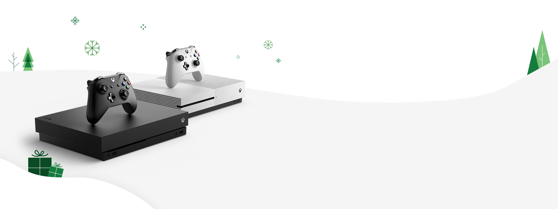 Side view of the Xbox One S and Xbox One X and Xbox Wireless Controller