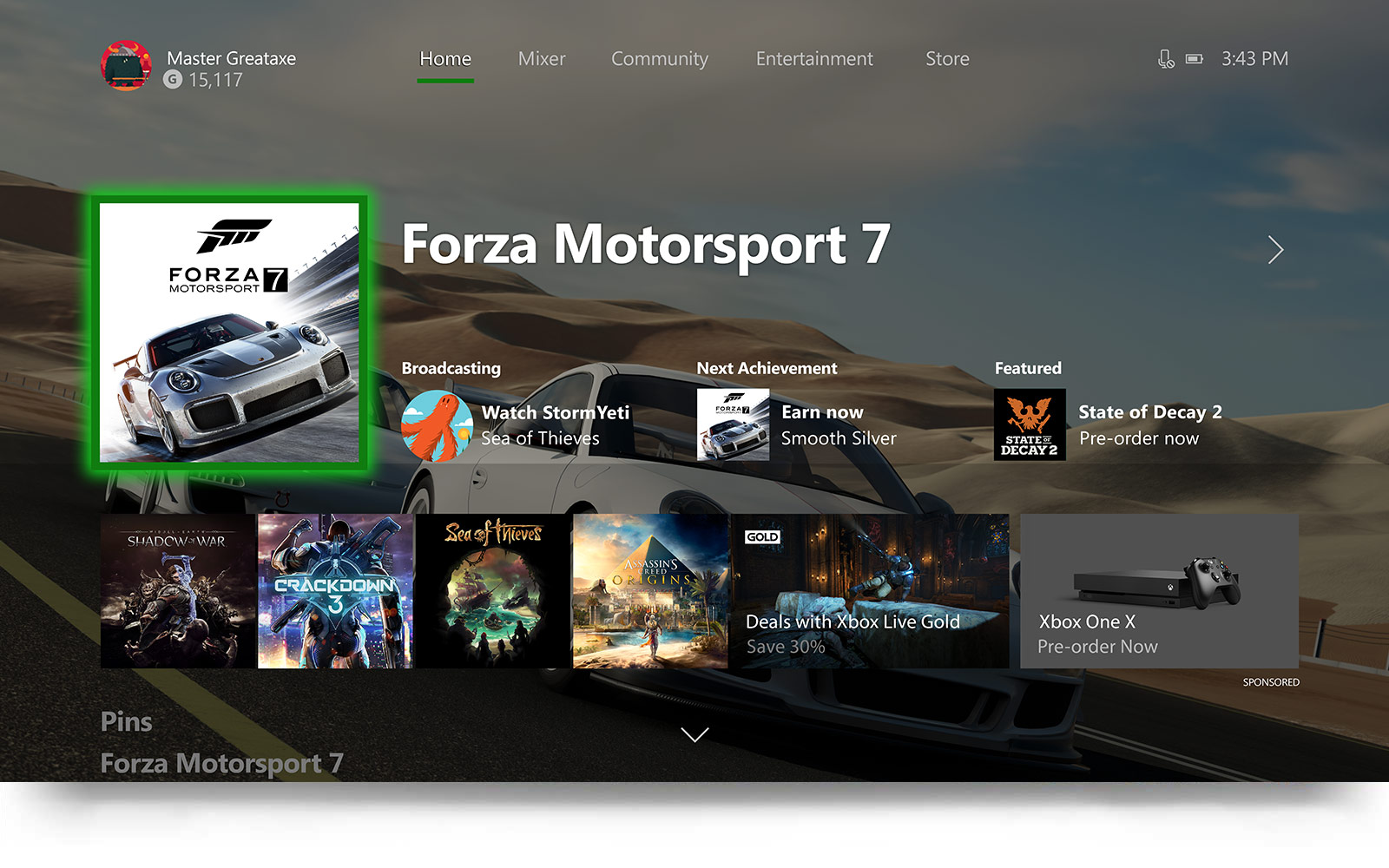 The new home screen for the Xbox dash