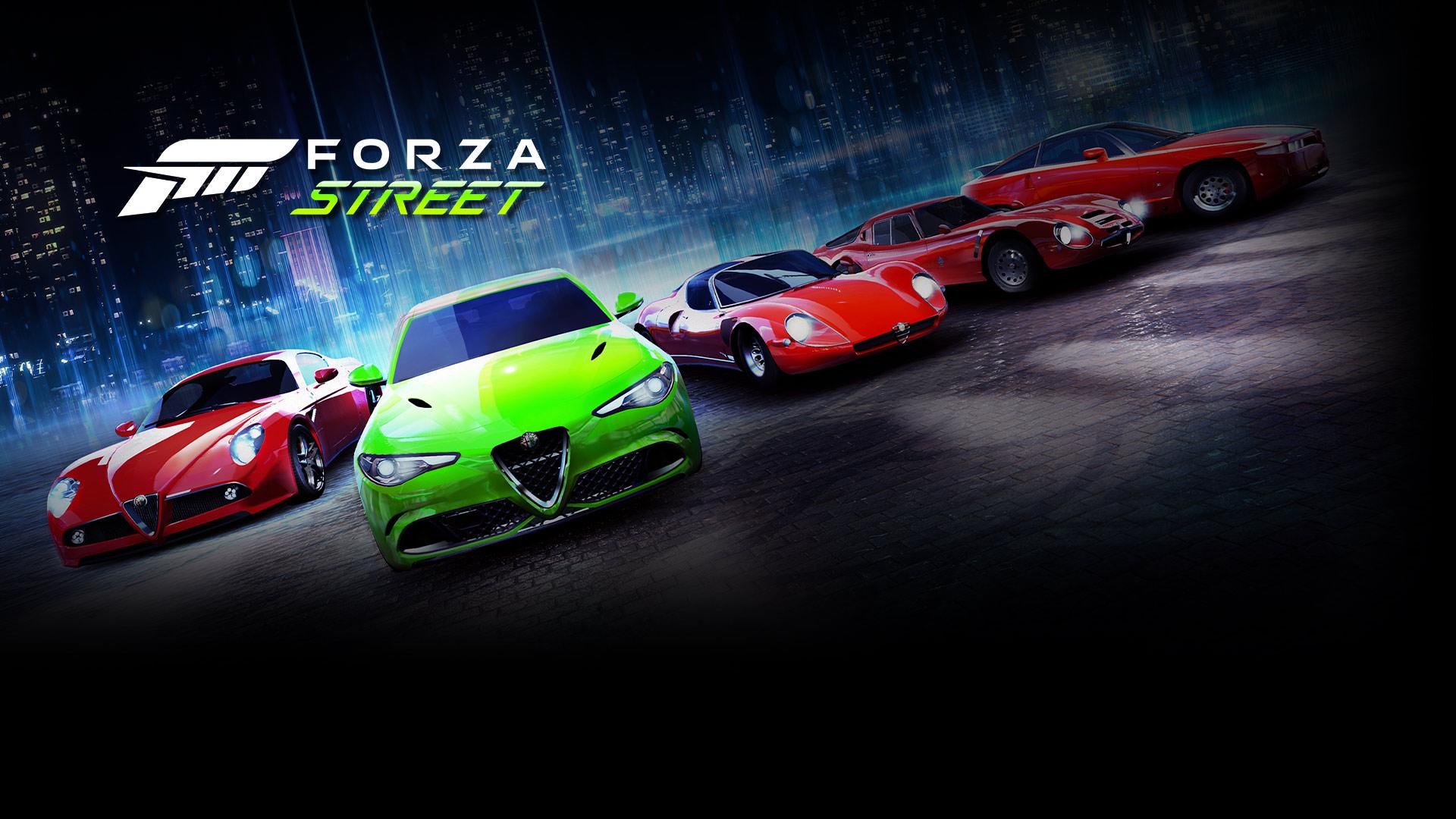 Forza Street, модельный ряд легендарных автомобилей на заднем плане