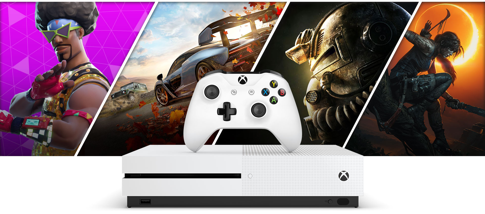 Fortnite, Forza Horizon 4, Fallout 76 and Shadow of the Tomb Raider graphics behind an Xbox One S and White Xbox Controller