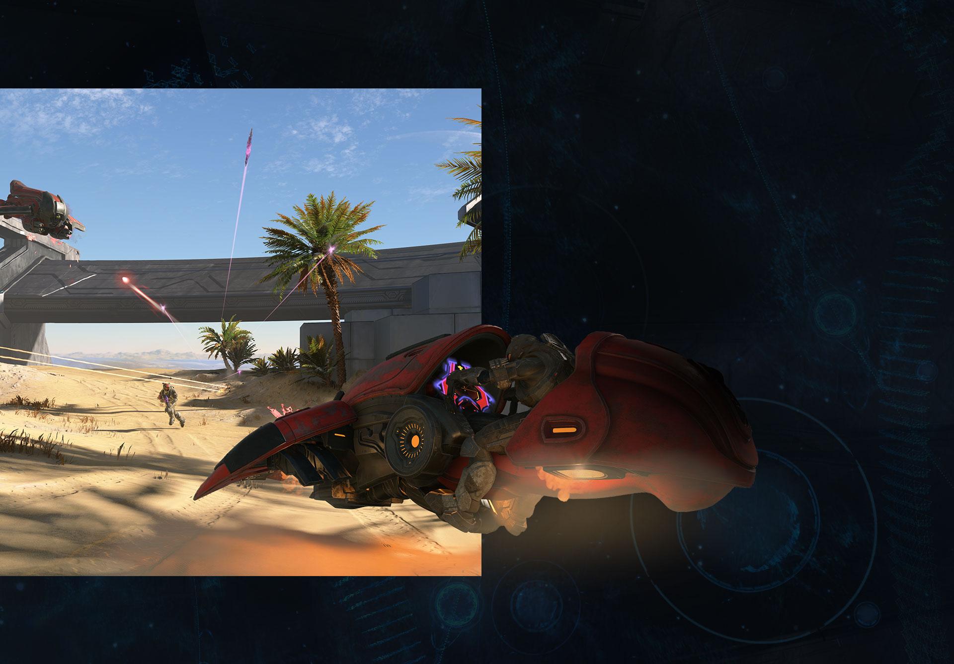 Uno Spartan in un Ghost spara su una spiaggia sabbiosa