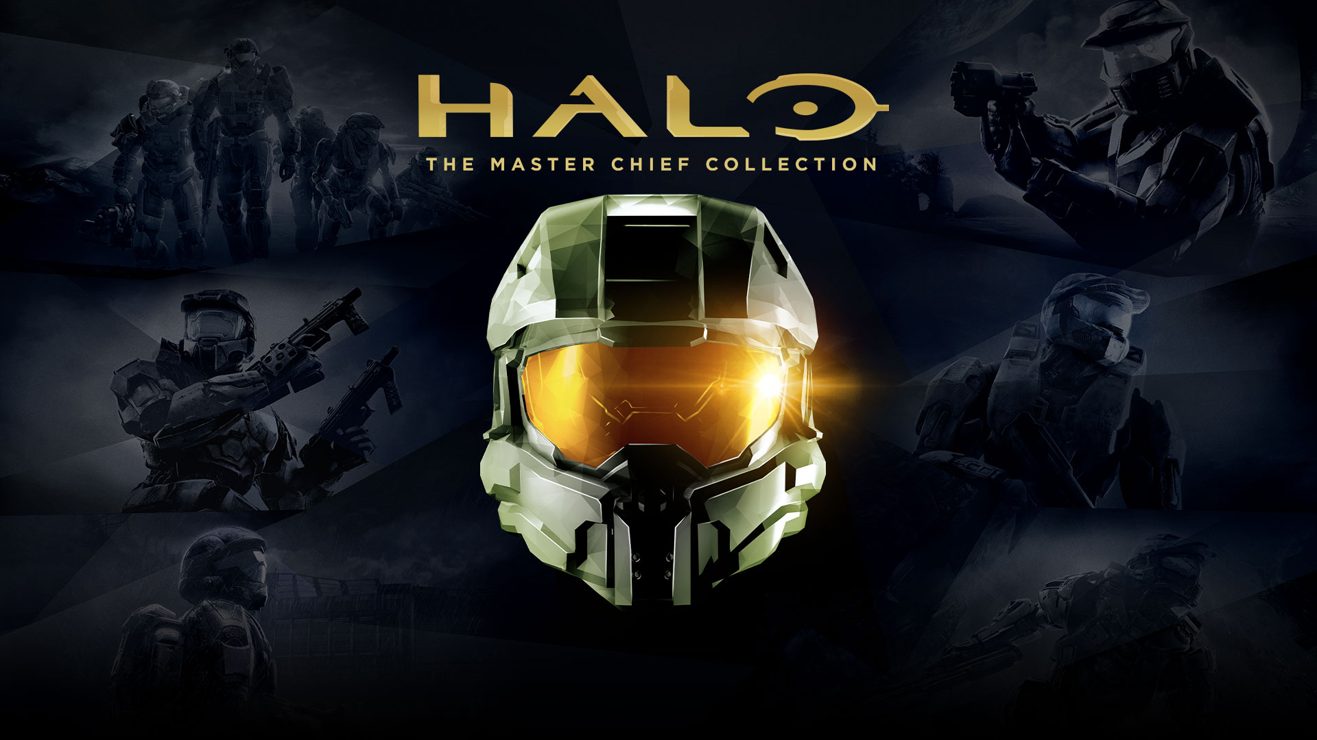 Front view of Master Chief's helmet with prior Halo game art in the background