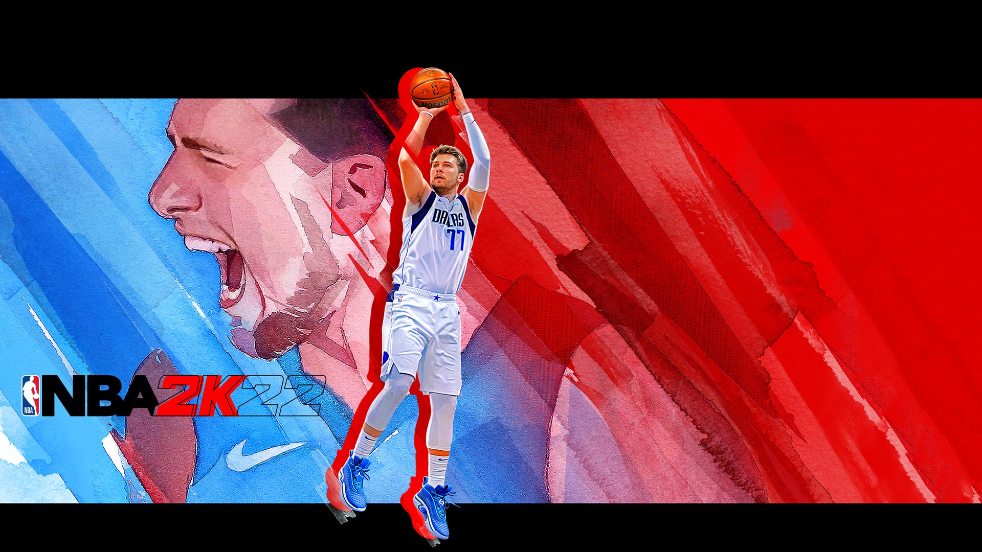 NBA 2K22, Luca Doncic leaps into the air with a basketball in front of a painting of him yelling in celebration.