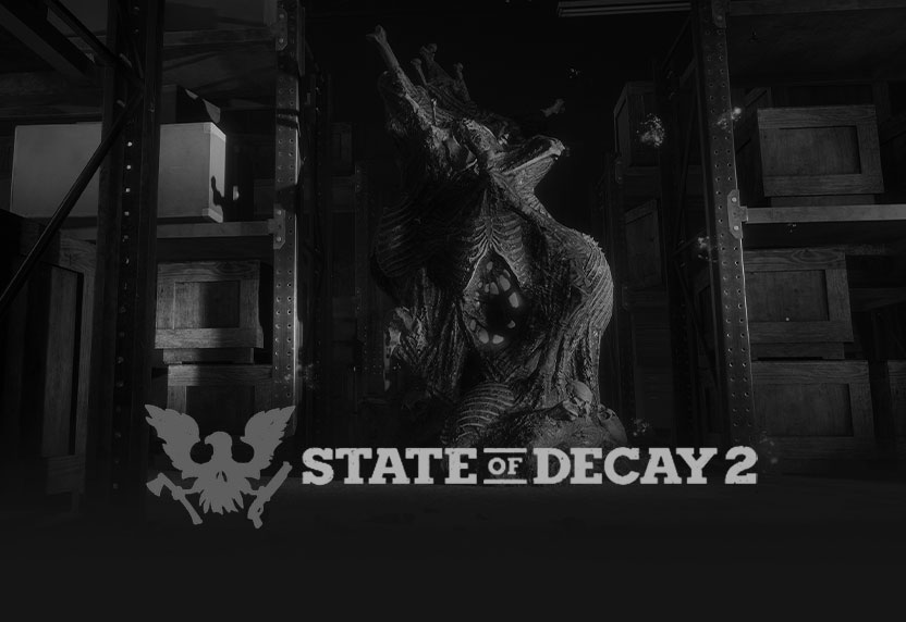 Zombie slaying from State of Decay 2, with game logo, all greyed out.