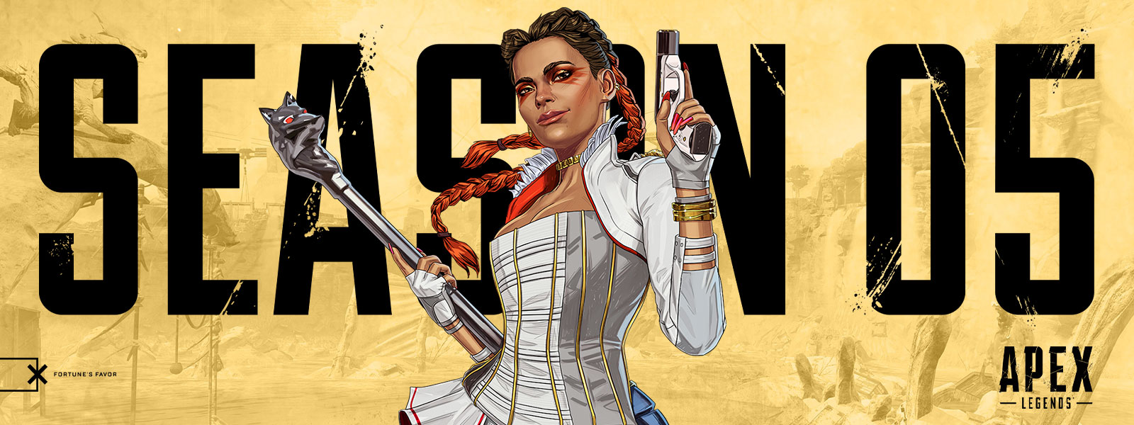 Apex Legends, Season 5, New hero Loba smiles with her gun and wolf staff.