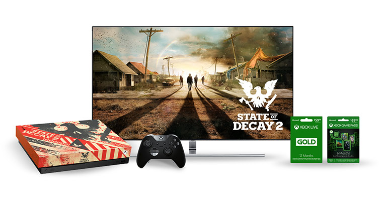 TV screen with game cards and custom State of Decay 2 console