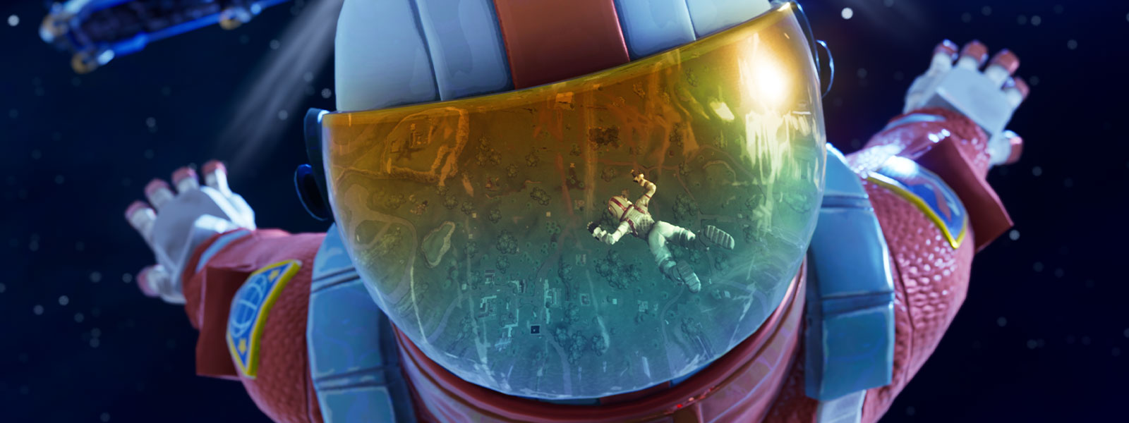 Fortnite characters skydiving in space from the battle bus
