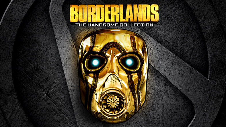 A shiny gold pyscho mask on sits on top of the Borderlands logo