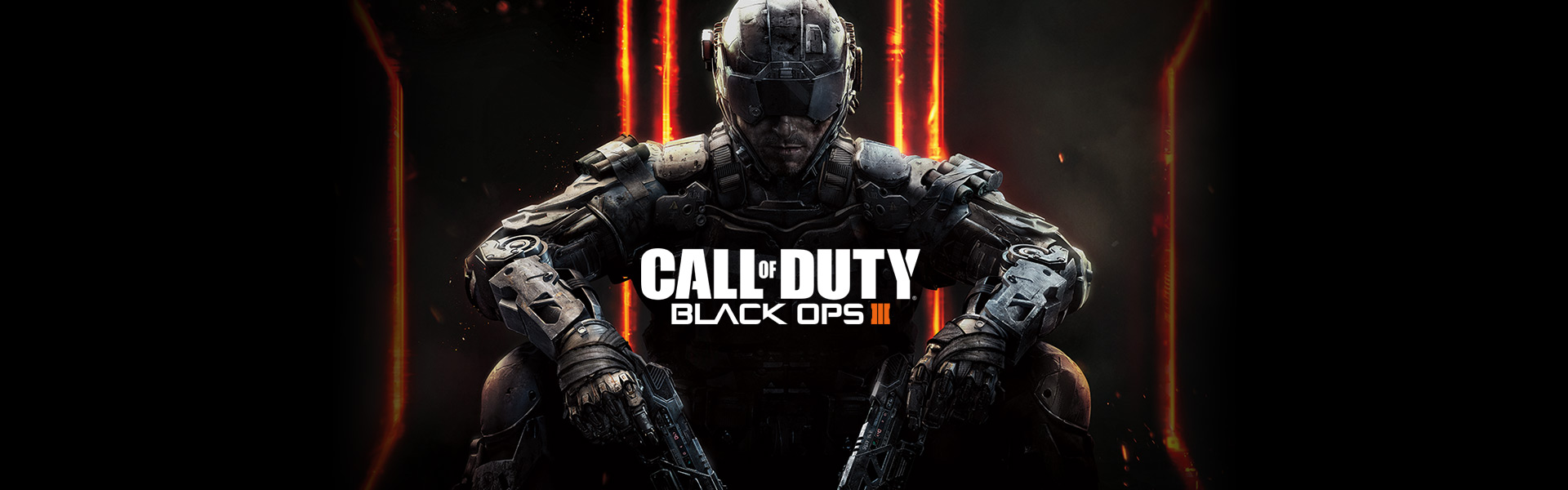 Call of Duty Black Ops 3 logo with futuristic looking soldier holding two pistols facing forward in background.