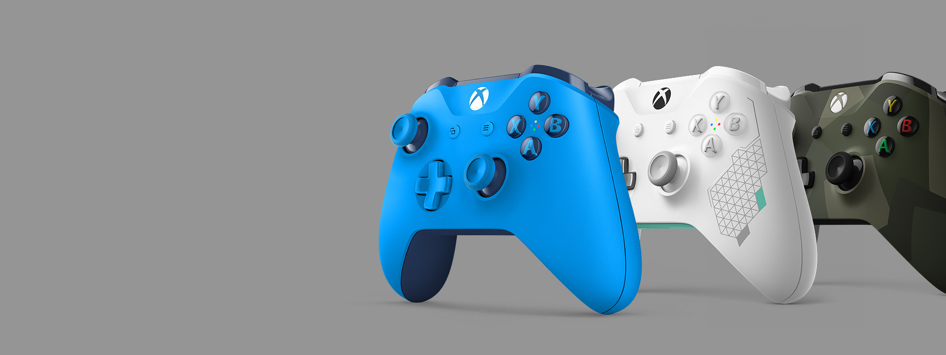 Side view of the Blue, Sport White and Armed Forces Xbox Wireless Controller