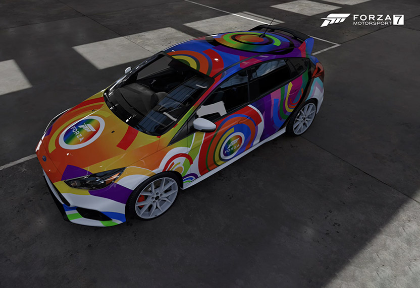 2017 Ford Focus RS adorned with the 2021 Forza Rainbow livery.