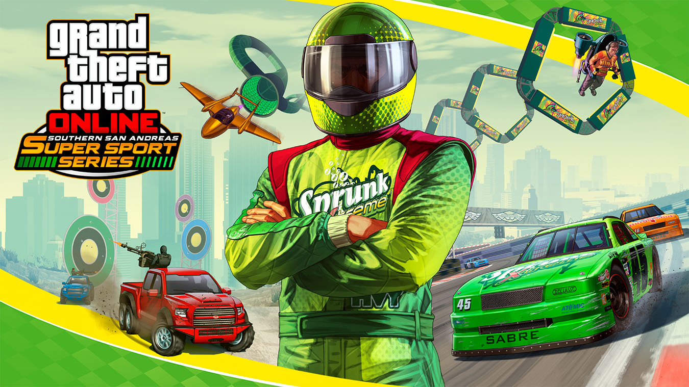 Grand Theft Auto Online Southern San Andreas Super Sports Series, Sprunk Racecar driver stands with his arms crossed with background collage of many different races
