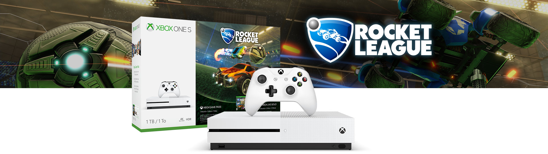 Xbox One S Rocket League Blast-Off -konsolipaketti 1 teratavu