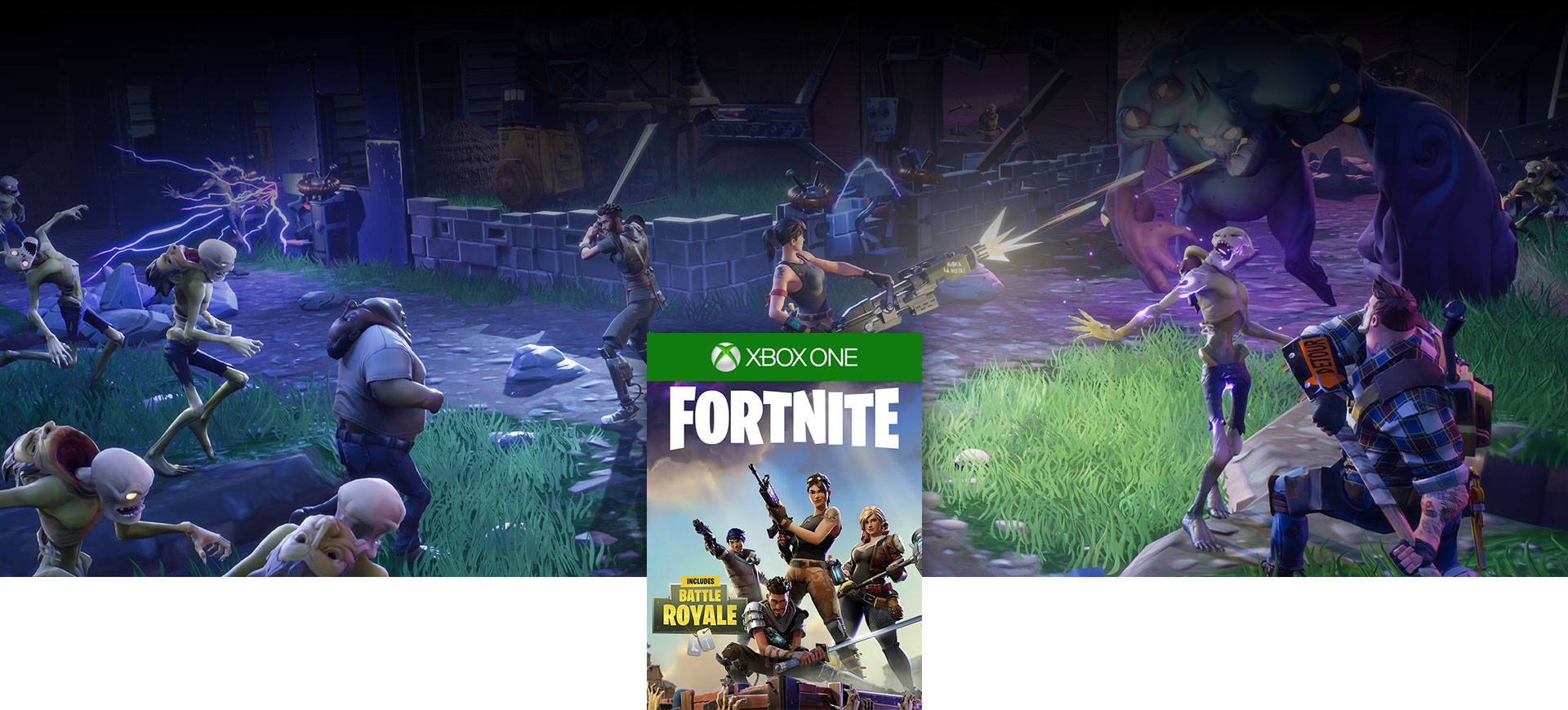 Fortnite boxshot, Fortnite characters fight off surrounding monsters