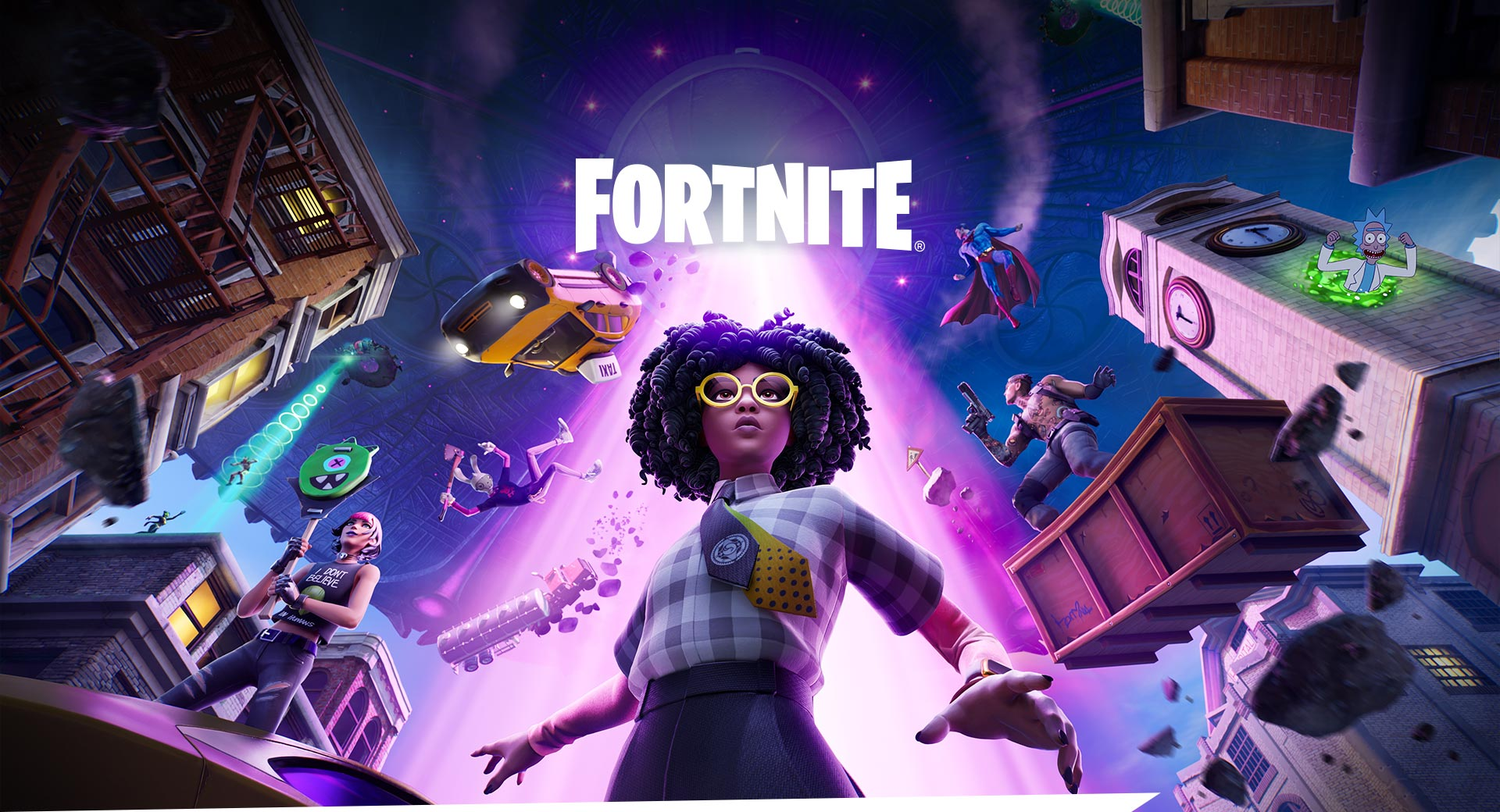 Fortnite, A young girl in yellow glasses braces herself as a bright tractor beam lifts characters into the air behind her.