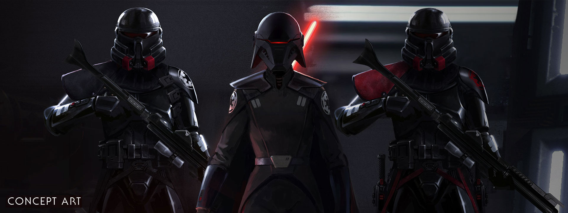Concept art, front view of Empire leader and two soldiers