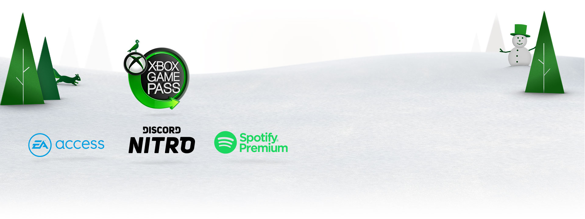 Xbox Game Pass, EA Access, Discord Nitro, and Spotify logos in front of a snowy background with trees and animals