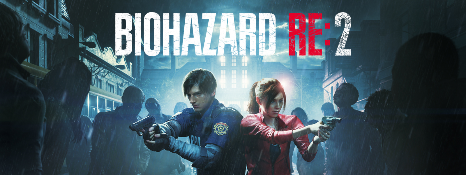 バイオハザード RE:2、 レオン・ケネディとクレア・レッドフィールドが身を寄せ合い、周囲をさまようゾンビに銃を構える