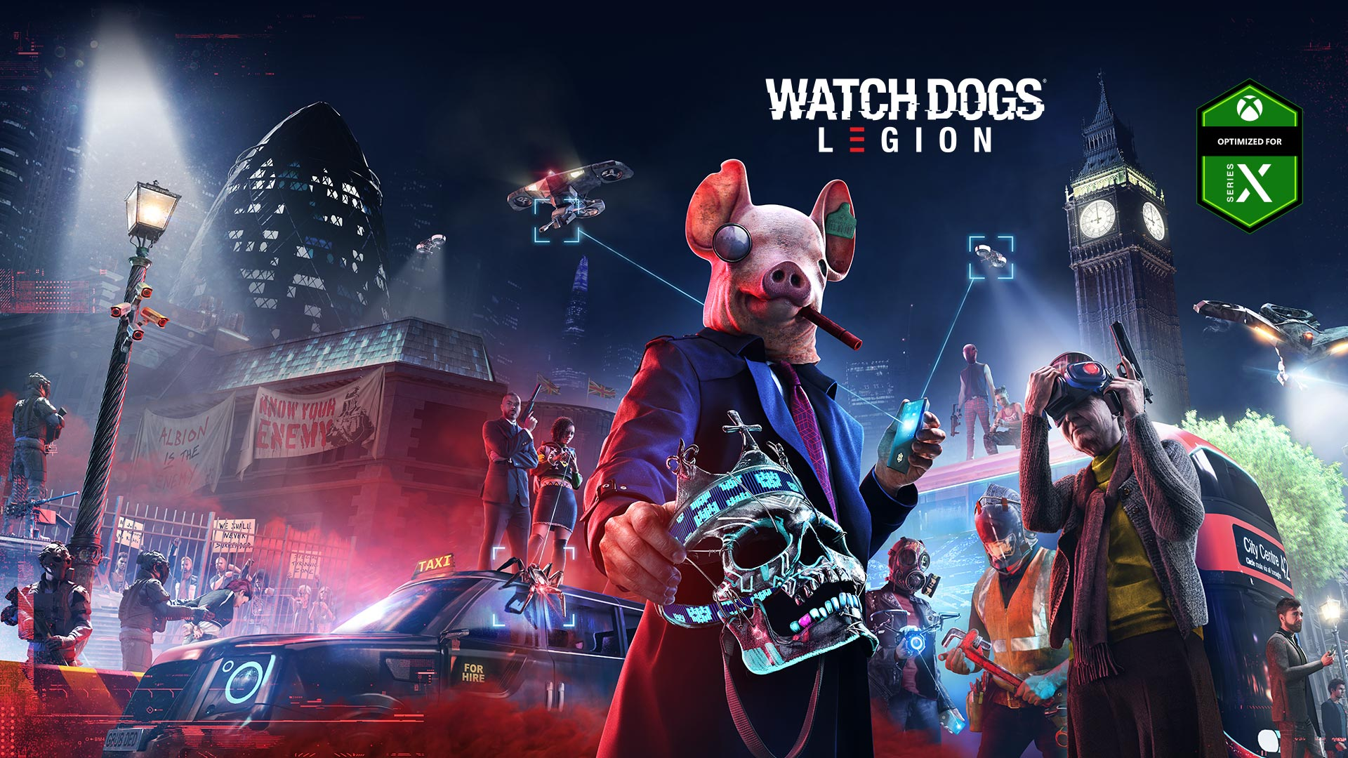 Optimized for Series X badge, Watch Dogs Legion logo, person in a pig mask holding a skull, two drones, Big Ben, and several other characters with weapons