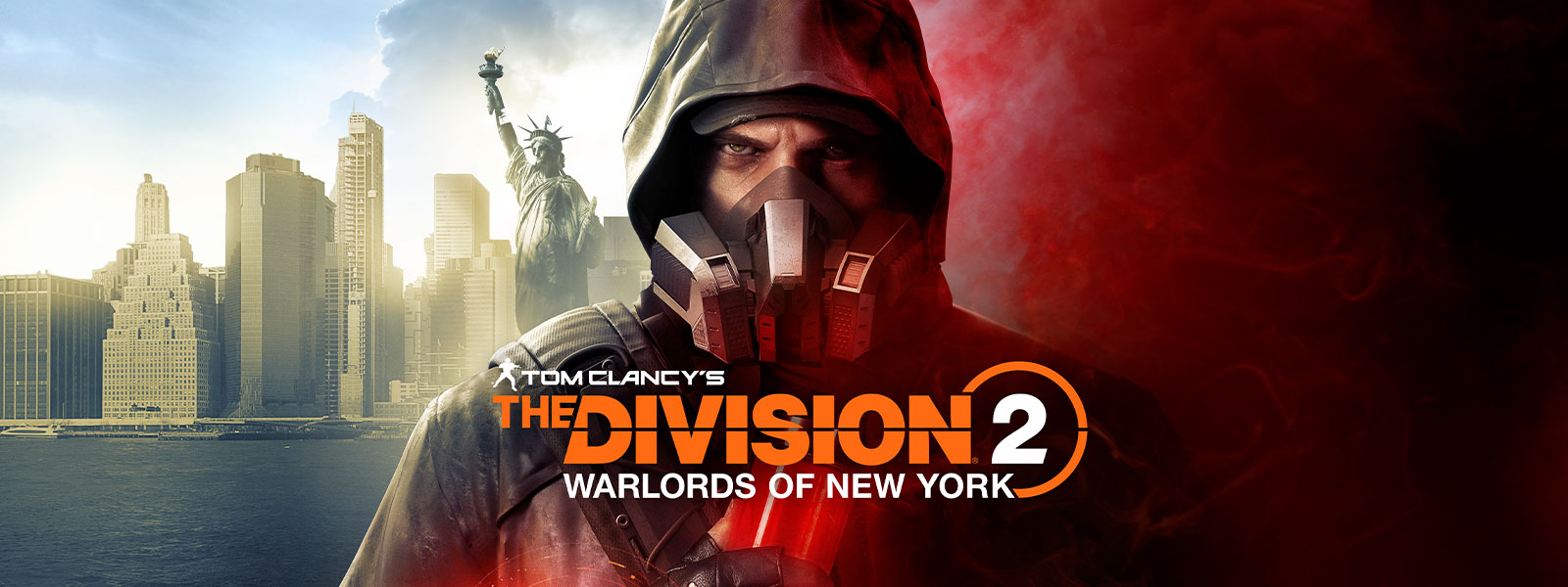 Tom Clancy's The Division 2 Warlords of New York, Aaron Keener con una máscara de gas, parado delante de la Estatua de la Libertad