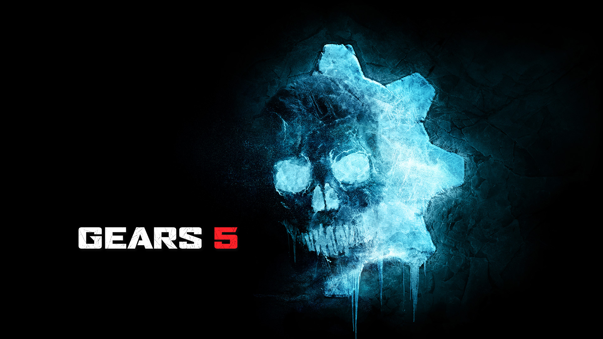 Artistic rendering of a human skull in front of an icy glowing blue gear