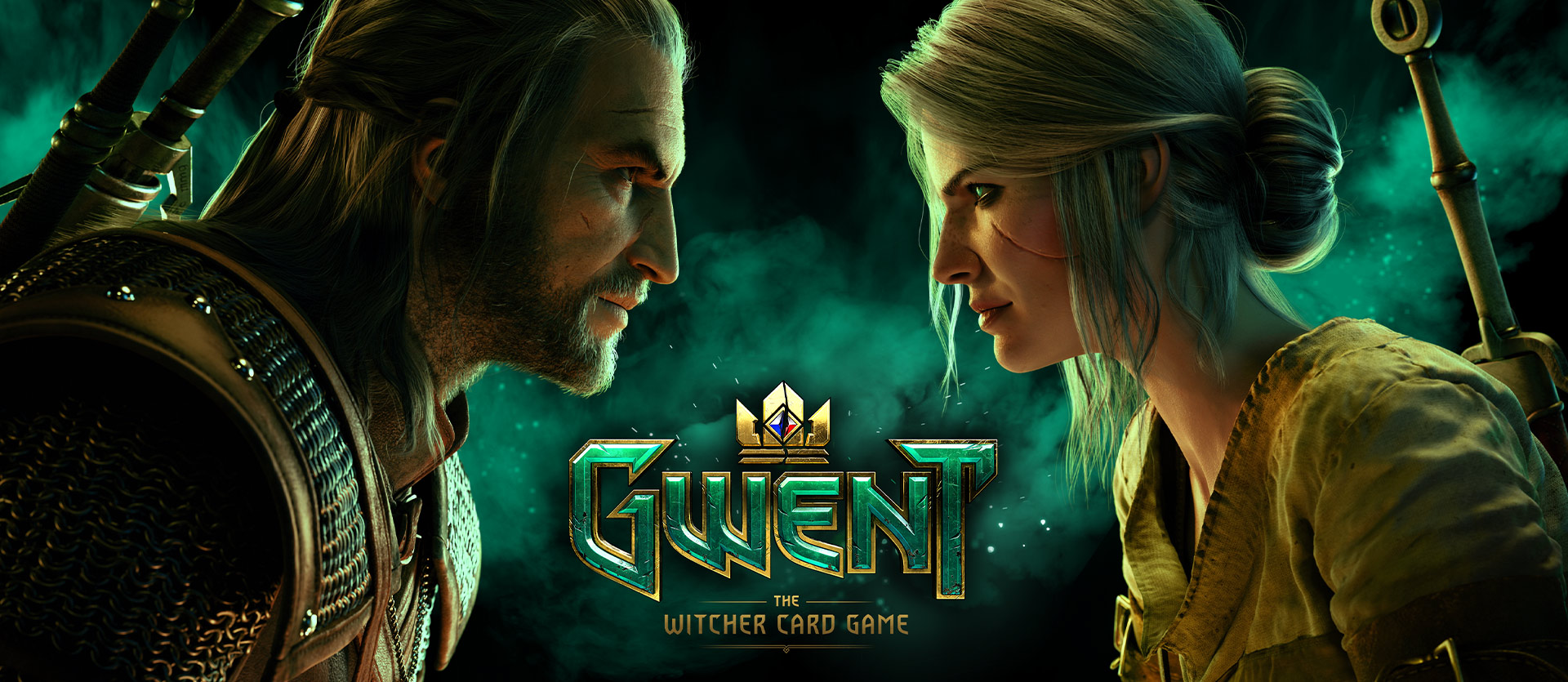 Gwent the Witcher Card Game, vista en perfil de Geralt y Ciri mientras se enfrentan