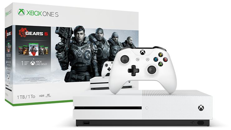 Xbox One S Gears 5 bundle next to the console box featuring Gears 5 art