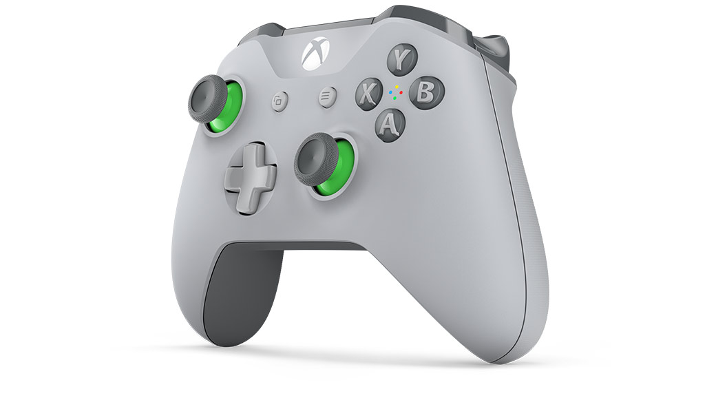 Left angle view of Grey/Green Controller